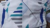Готовая портьера с лентой для крючков белая с рисунком  205*170
