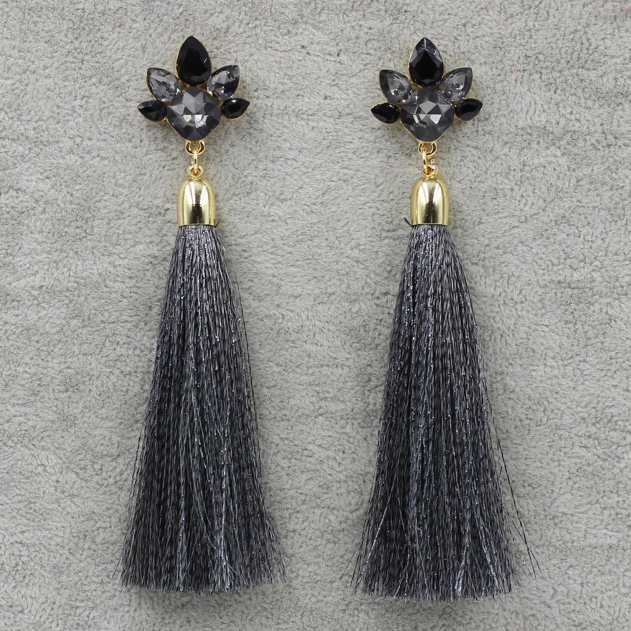 Серьги длинные Серый L-11 см БижуМир