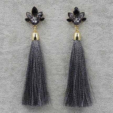 Серьги длинные Серый L-11 см БижуМир, фото 2