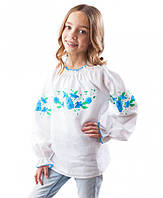 Белая льняная вышиванка для девочки (размеры 98-158) 122