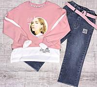 Стильный батник обманка для девочки  Розовый р. 134, 158
