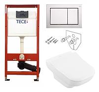 Инсталляция TECE с подвесным унитазом JOYCE DirectFlush + крышка Slimseat Softclose