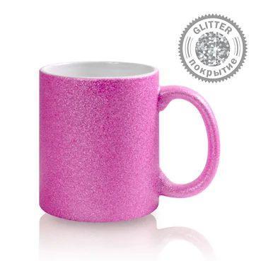 Кружка Глиттер для сублимации 330мл Розовая