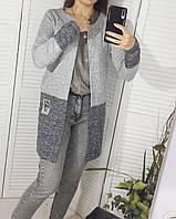 Кардиган ангоровый  светло-серый женский 42-56 размеры