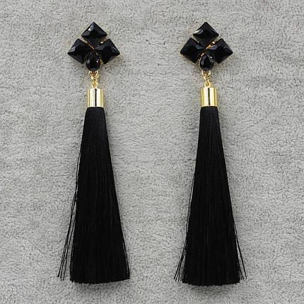 Серьги длинные Черный L- 11 см БижуМир, фото 2