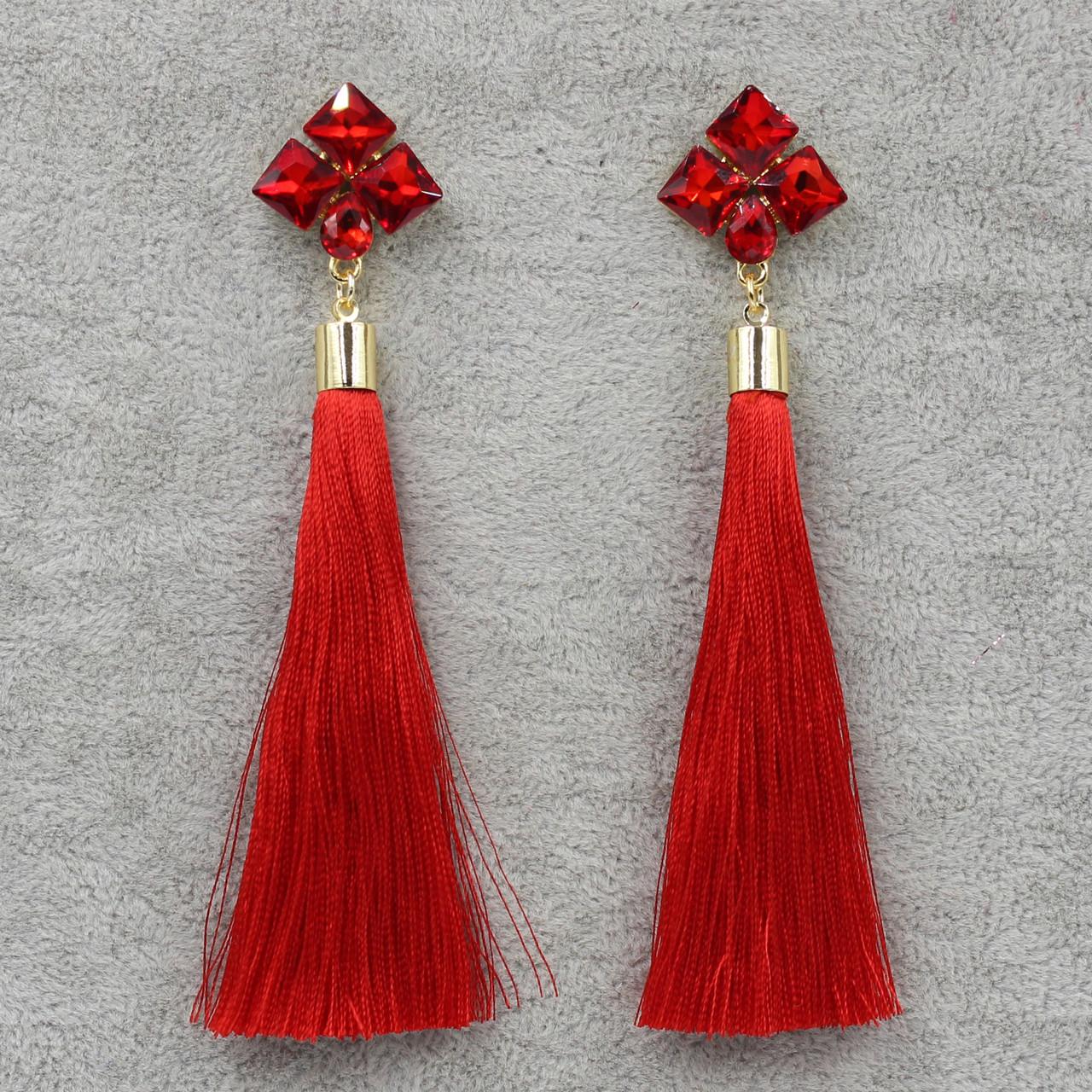 Серьги Кисти Красный L-11 см БижуМир