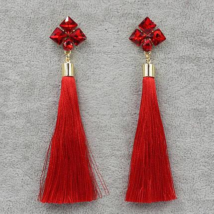 Серьги Кисти Красный L-11 см БижуМир, фото 2