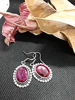 Рубин серьги с натуральным камнем рубин. Серьги с рубином в серебре Индия!, фото 1