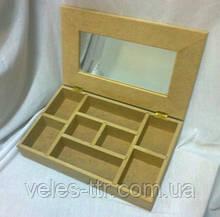 Шкатулка с делениями вставка зеркало 30х19х5.8 см МДФ заготовка для декора