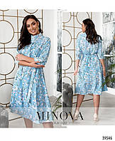 Элегантное молодёжное платье с цветочным принтом в 4-х расцветках с 50 по 64 разм