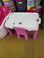 Стол и стульчик 2в1 + игра хоккей, ТМ Doloni детский пластиковый столик и стульчик-табурет Долони