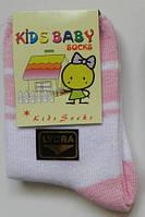 Тонкие носочки для новорожденных (белый/розовый цвет)