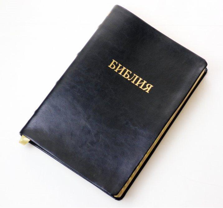Библия большого формата 18х25 (натуральная кожа, черная, золото, индексы, без замка)