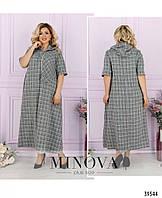 Оригинальное женское платье свободного кроя из льна в 3- х расцветках с 50 по 64 разм