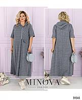 Модное  женское платье свободного кроя из льна в 3- х расцветках с 50 по 64 разм