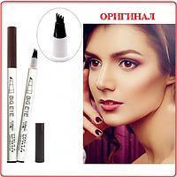 Тату - маркер для бровей Davis cosmetics waterproof liquid eyebrow (Темно-Коричневый)