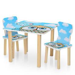 Столик 506-60 столешница60-60см/высота49см, 2 стульчика, сова