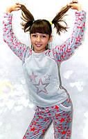 Детская махровая пижама для девочки, яркая стильная теплая пижама из Velsoft-махры. Опт, розница. Украина.