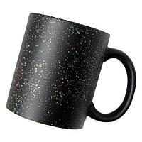Чашка для сублимации хамелеон с блёстками (черный)