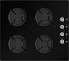 Sistema 6410 P03-K05 (600 мм.) газовая варочная поверхность цвет черное закаленное стекло