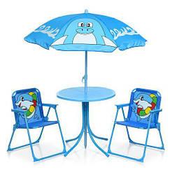 Столик 93-74-DLF диаметр 50см, стульчик 2 шт, зонтик (регулируемая высота), дельфины