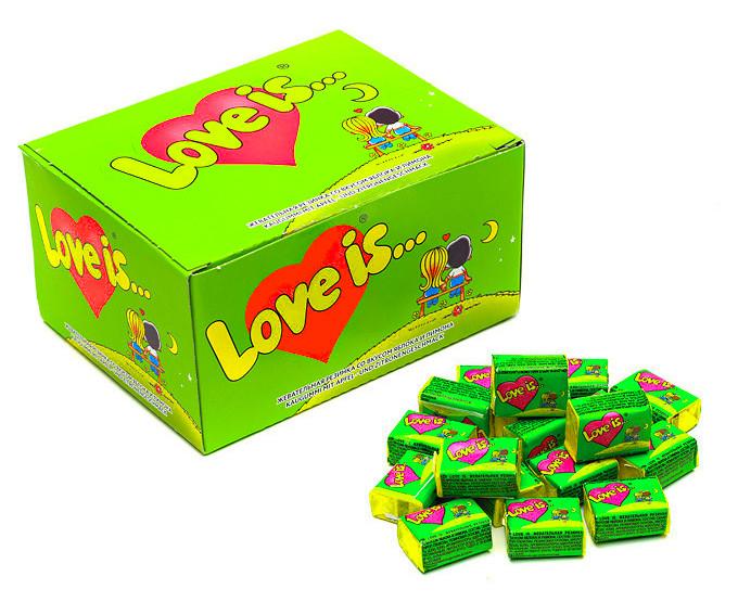 """Жвачка Love is — """"Яблоко-Лимон"""" (блок 100 шт.)"""
