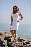 Женское нарядное платье на пуговицах с вышивкой батал