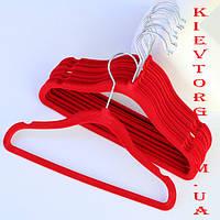 Вешалки плечики для детской одежды, платьев, рубашек флокированные (бархатные, велюровые) красные, 30 см, 5 шт