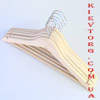Вешалки плечики тремпеля деревянные для одежды в шкаф, гардероб не лакированные ЭКО (бук) 5 шт, 44 см