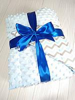 Детский плюшевый плед (одеяло для младенцев) Minky для мальчика с утеплителем 75*100 см