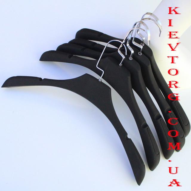 Вешалки плечики для одежды soft-touch черные, 41 см