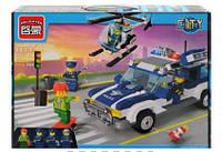Конструктор BRICK 1117, Погоня за преступником, Полицейская машина, вертолет, 394 детали