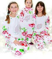 Детская махровая пижама на девочку, яркая стильная теплая пижама из Velsoft-махры. Опт, розница. Украина.