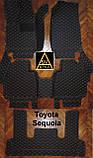 Килимки на Toyota Sequoia Шкіряні з текстильними накидками 3D (2008-2016), фото 6