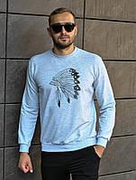 """Чоловіча кофта світшот УТЕПЛЕНИЙ """"Роуч"""" сірий меланж S-XL / мужской трикотажный утепленный свитшот серый"""