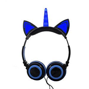 Наушники LINX Unicorn Ear Headphone с ушками Единорог LED Синий (3000)