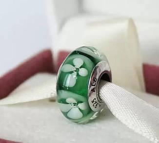 """Шарм бусина Pandora (Пандора) """"Муранское стекло Зеленый цветочек"""""""