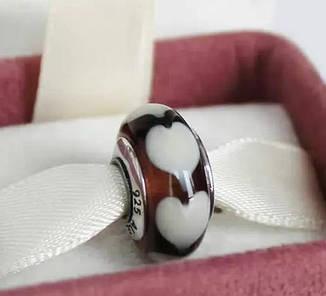 """Шарм бусина Pandora (Пандора) """"Муранское стекло Кофейное сердце"""""""