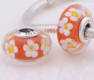 """Шарм бусина Pandora (Пандора) """"Муранское стекло Оранжевые цветы"""""""