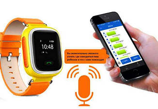 """Детские умные GPS часы Smart Baby Watch Q100 с трекером отслеживания цветной сенсорный экран WiFi 1 """"(оранж)"""
