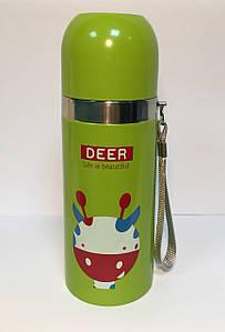 Термос детский SUNROZ Животные Жираф с чашкой и шнурком Зеленый 350 мл