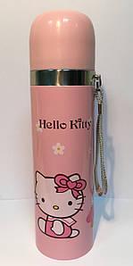 Детский Термос SUNROZ Hello Kitty с чашкой и шнурком Желтый 500 мл