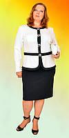 Нарядный женский костюм платье с белым пиджаком больших размеров в расцветках