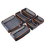 Набор органайзеров для путешествий Bagsmart Серый с оранжевым (FBBM0104087AN008BS), фото 8