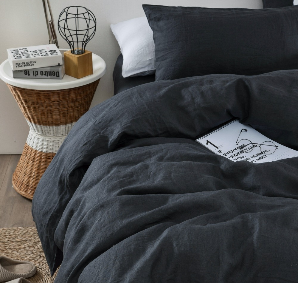 Льняное постельное бельё Семейный 220х250 см CottonTwill Графит