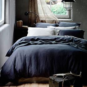 Льняное постельное бельё Евро 220х240 см CottonTwill Темно-синий
