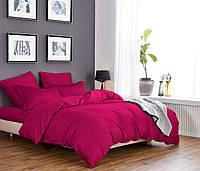 Евро постельное белье 200х220 см Сатин CottonTwill Однотонный  Ярко-розовый