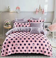 Постельное белье Евро 200х220 см мако-сатин CottonTwill Горохи Розовый