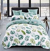 Постельное белье Полуторный 145х215 см мако-сатин CottonTwill Монстера Бело-зеленый