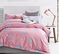 Двуспальные комплекты постельного белья  175х215 см мако-сатин CottonTwill детское из сатина Слоники Розовый